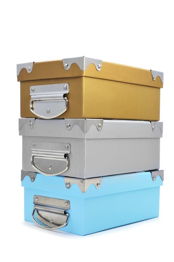 Caixas de armazenamento do cartão com cores diferentes imagem de stock royalty free