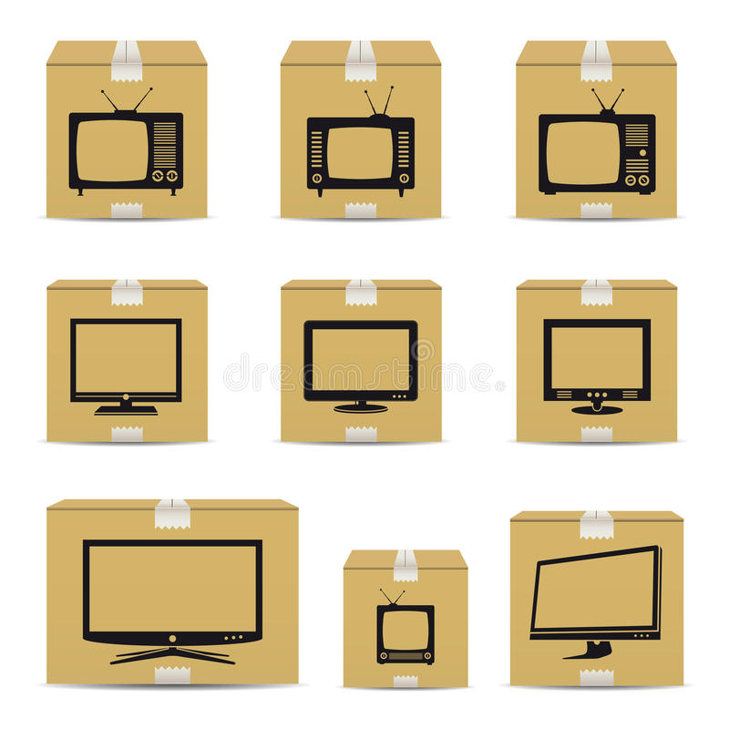 Caixas de cartão da tevê ilustração royalty free