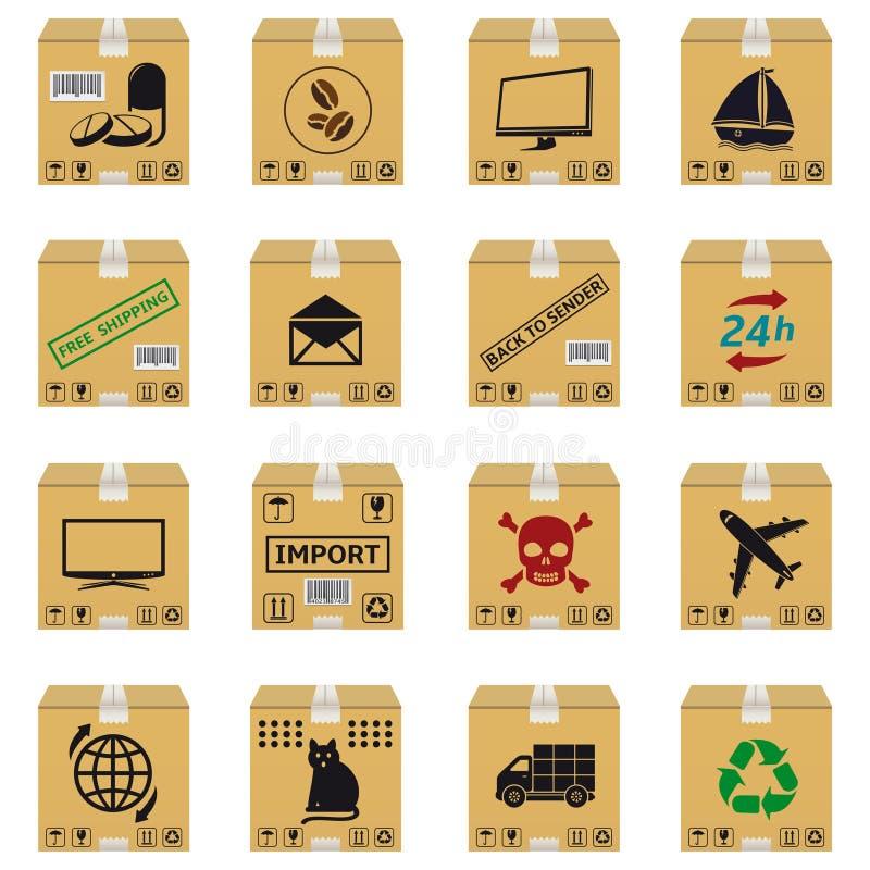 Caixas de cartão do transporte do vetor ilustração do vetor