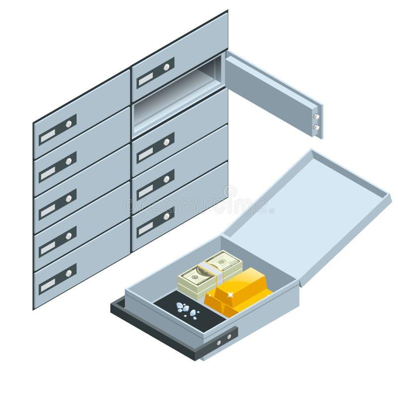 Caixas de depósito seguro 2 Abra a caixa de cofre-forte com lingotes dourados Conceito financeiro do investimento de operação ban ilustração do vetor