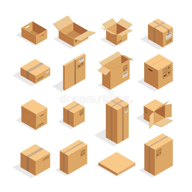 Caixas de empacotamento isométricas ajustadas ilustração royalty free