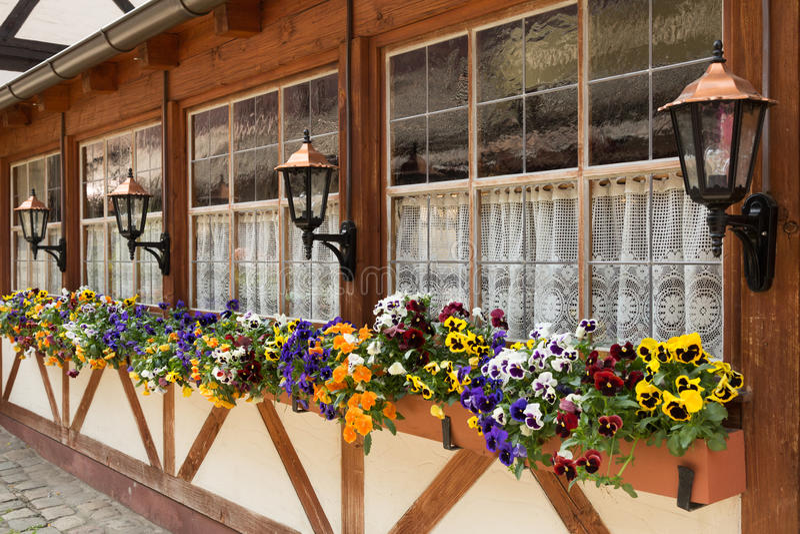 Caixas de janela, Nuremberg, Alemanha foto de stock