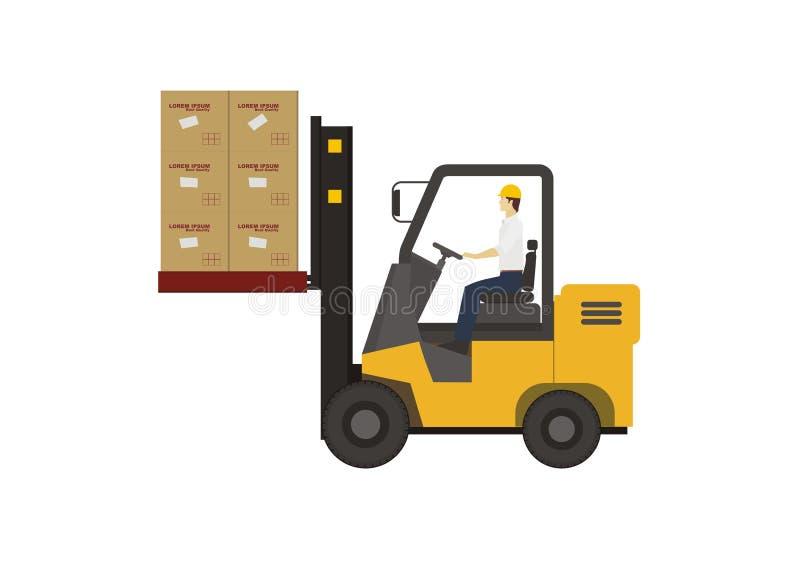 Caixas de levantamento da empilhadeira ilustração stock