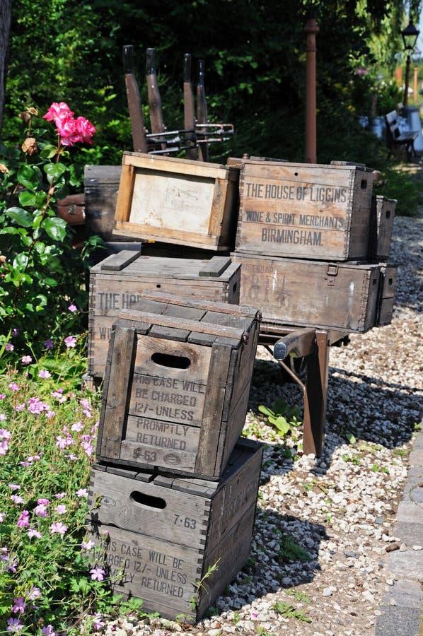 Caixas de madeira retros velhas, Arley imagem de stock