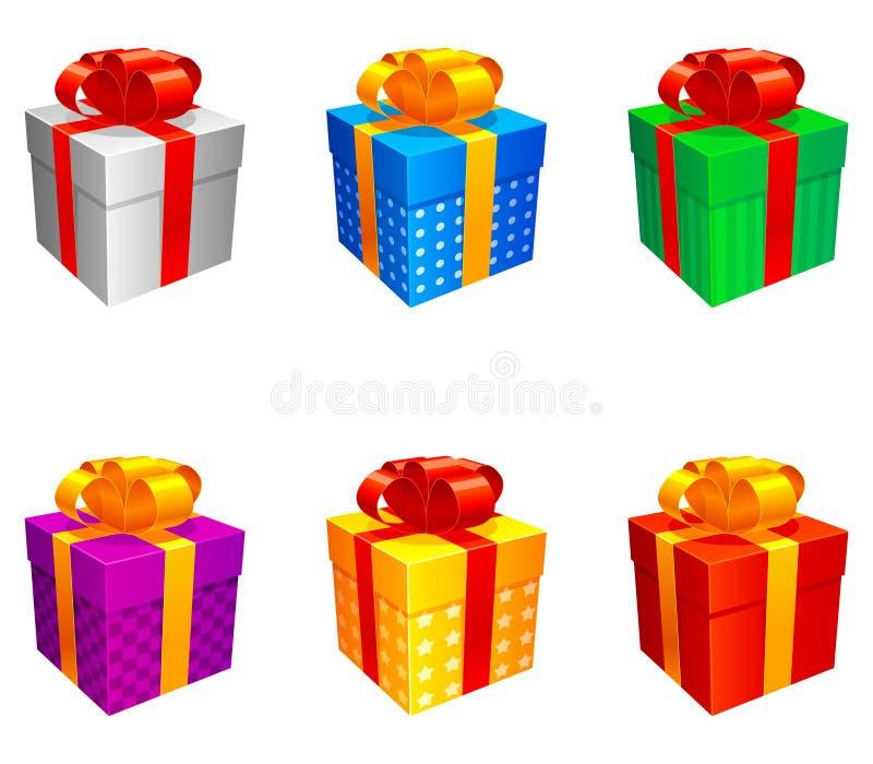 Caixas de presente. ilustração stock
