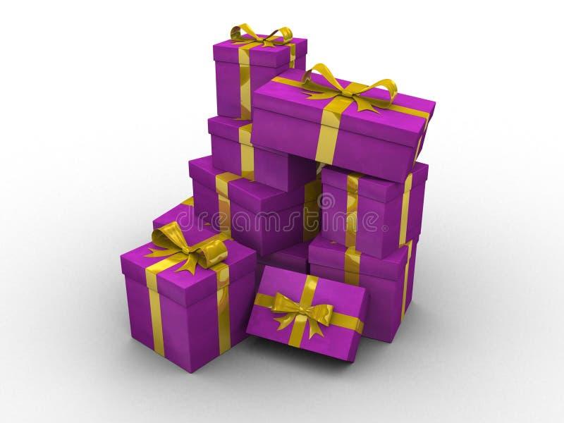 Caixas de presente 3d roxas ilustração stock