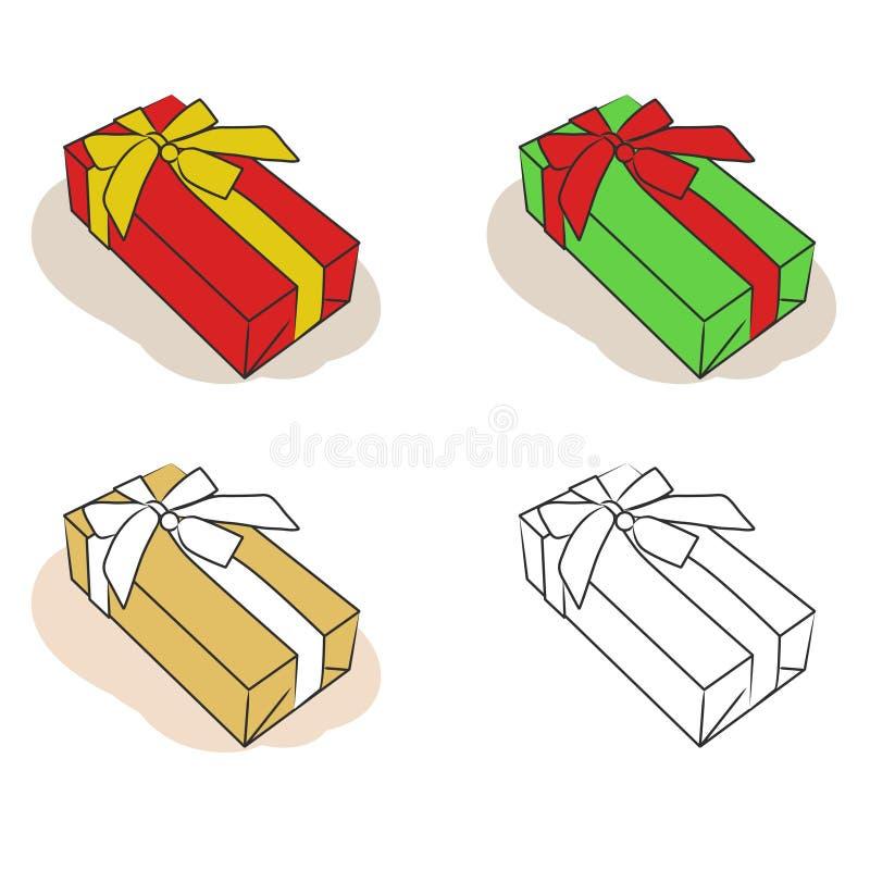 Caixas de presente ajustadas ilustração stock