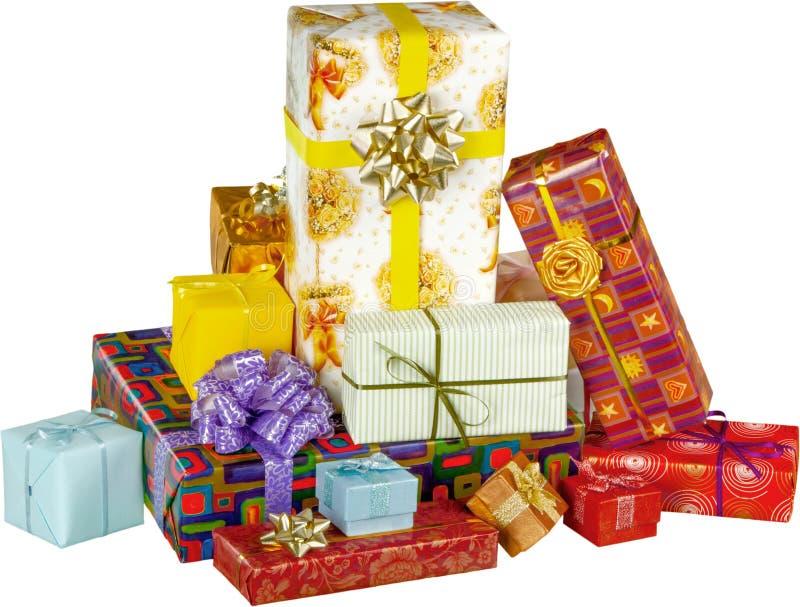 Caixas de presente bonitos no fundo branco imagem de stock