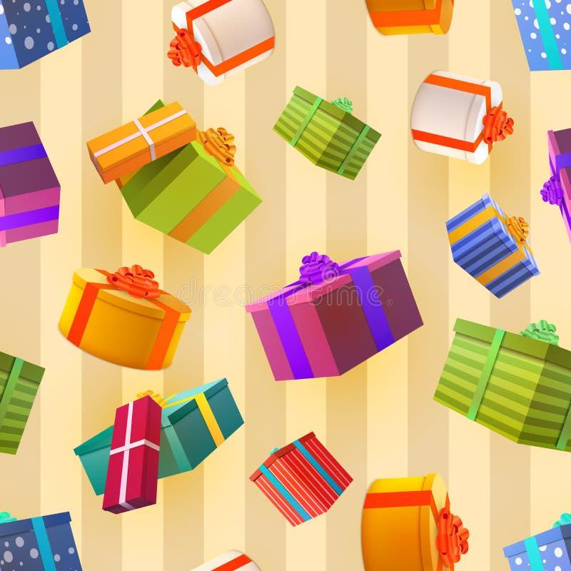 Caixas de presente coloridas brilhantes no fundo retro, teste padrão sem emenda de muitos presentes ilustração stock