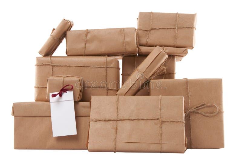 Caixas de presente com etiqueta em branco imagens de stock