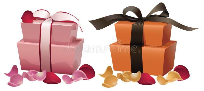 Caixas de presente com pétalas ilustração royalty free