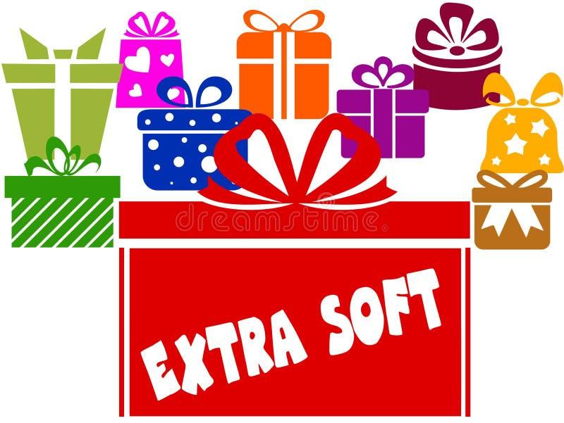Caixas de presente com texto MACIO EXTRA ilustração royalty free