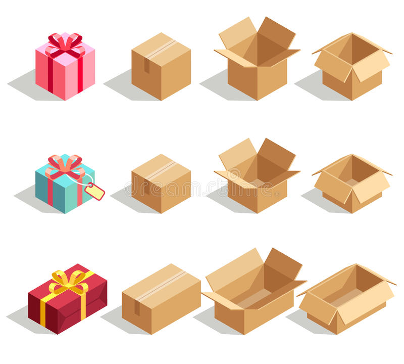 Caixas de presente do cartão abertas e fechados ícones isométricos do vetor 3D para o infographics da entrega ilustração royalty free