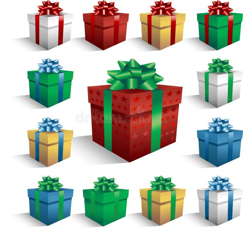 Caixas de presente do Natal ilustração royalty free