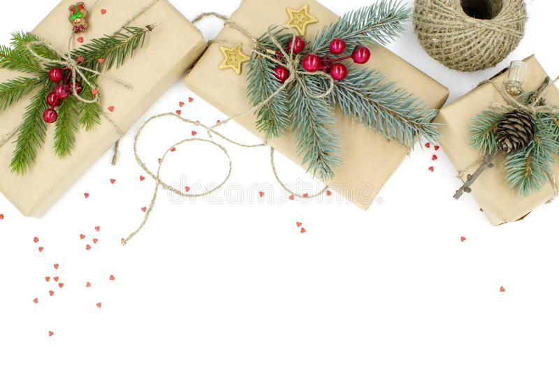 Caixas de presente pelo Natal e o ano novo imagens de stock