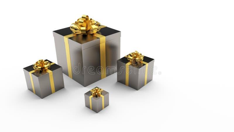 Caixas de presente pretas com curva dourada da fita no fundo claro fotografia de stock royalty free