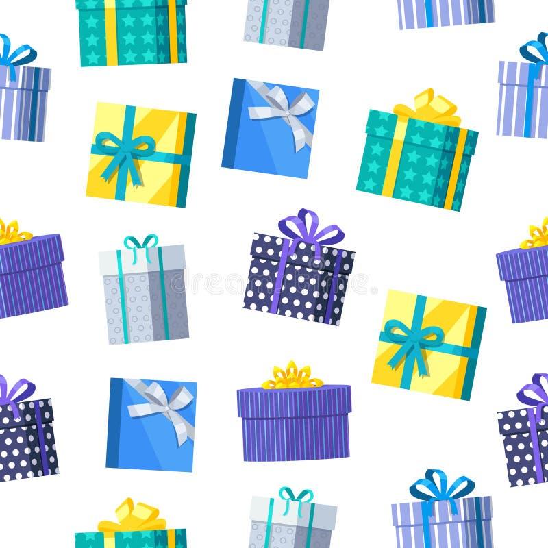 Caixas de presente sem emenda do teste padrão ilustração royalty free