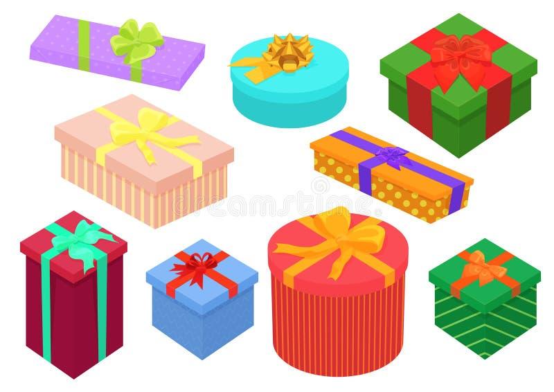 Caixas de presentes isométricas do projeto liso ajustadas Presente e caixas de presente brilhantes, coloridos com curvas da fita  ilustração do vetor