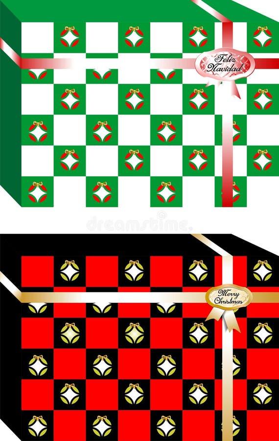 Caixas de presentes simples e elegantes do Natal, decoradas com diversas bolas ` Do Feliz Natal do ` escrito na língua espanhola  ilustração royalty free