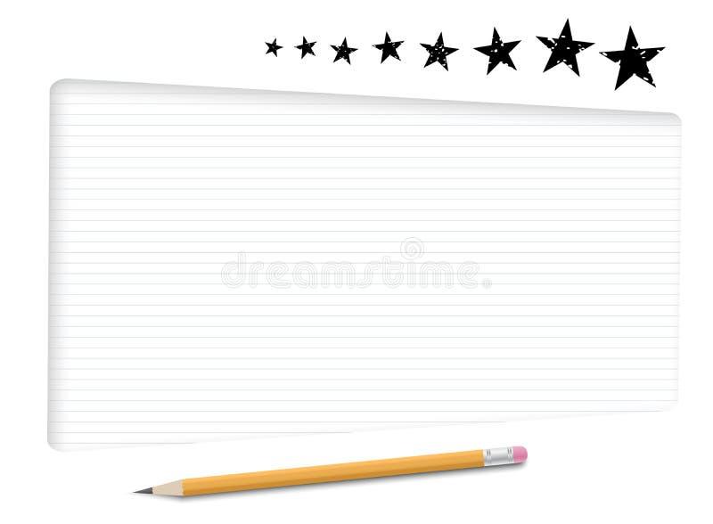 Caixas de texto brancas, quadro com papel alinhado para a mensagem, estrelas pretas e lápis amarelo ilustração stock
