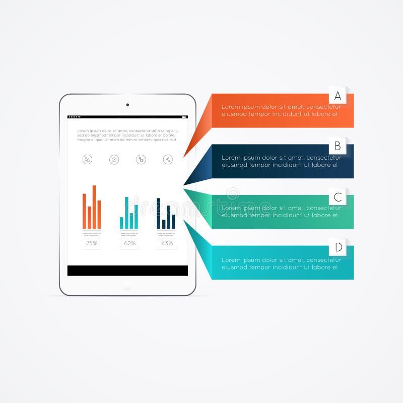Caixas de texto coloridas com o tablet pc 3d realístico ilustração royalty free