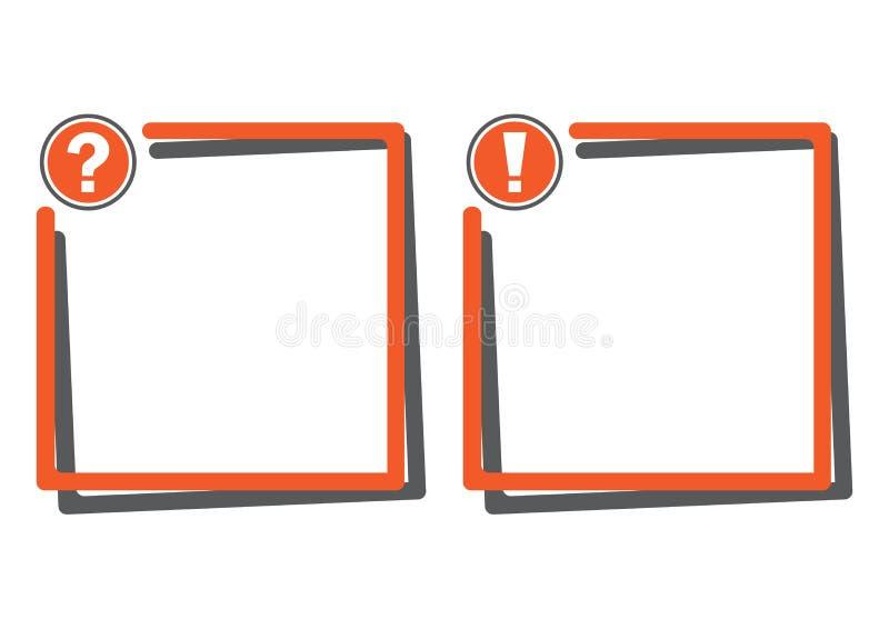 Caixas de texto com botão do ponto de interrogação e botão da marca de exclamação Ilustração do vetor ilustração do vetor