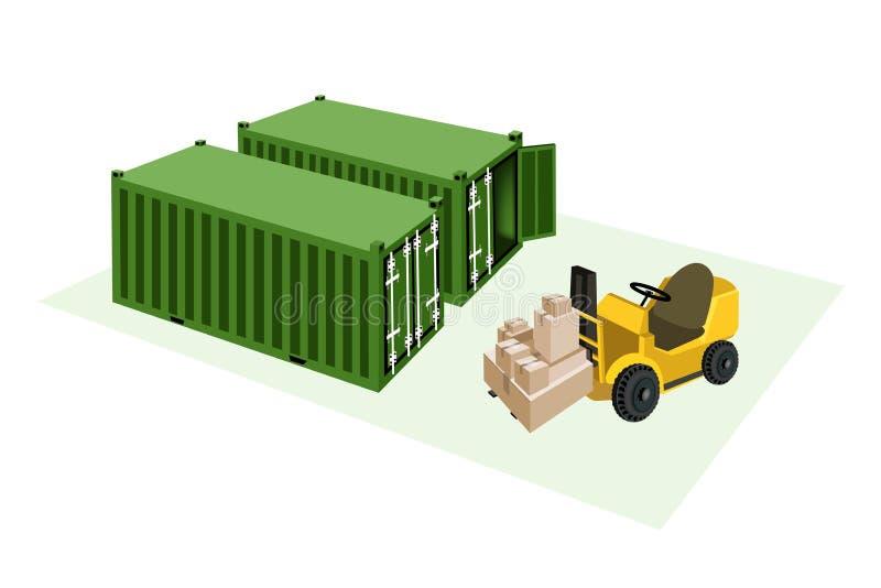 Caixas de transporte da carga do caminhão de empilhadeira no frete ilustração royalty free
