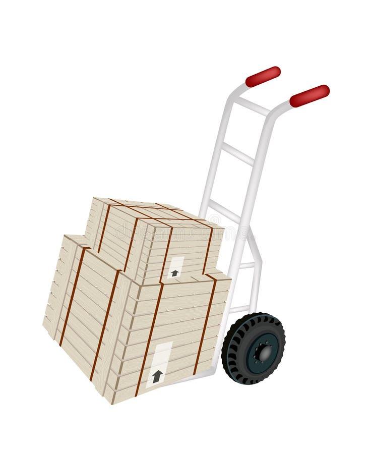 Caixas de transporte da carga do caminhão de mão com correia de aço ilustração stock