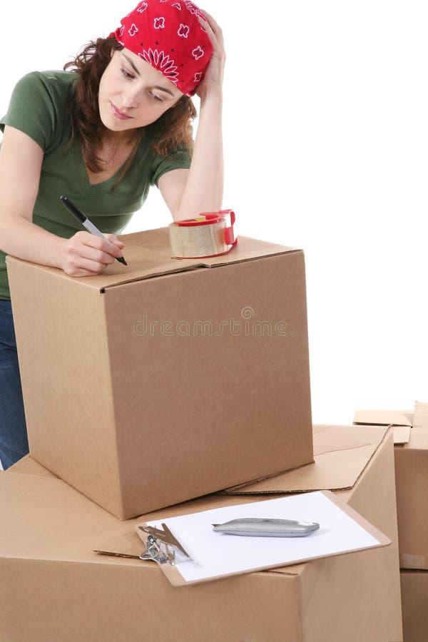 Caixas de transporte da mulher imagens de stock