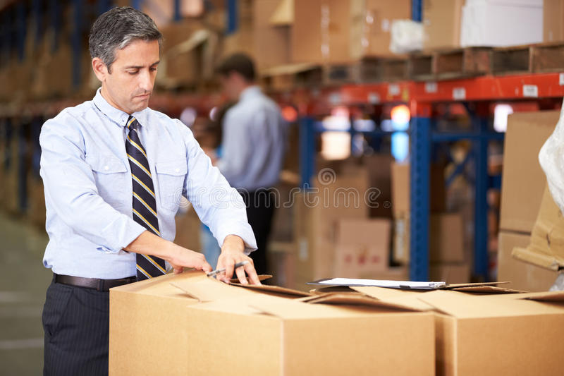Caixas de In Warehouse Checking do gerente imagem de stock