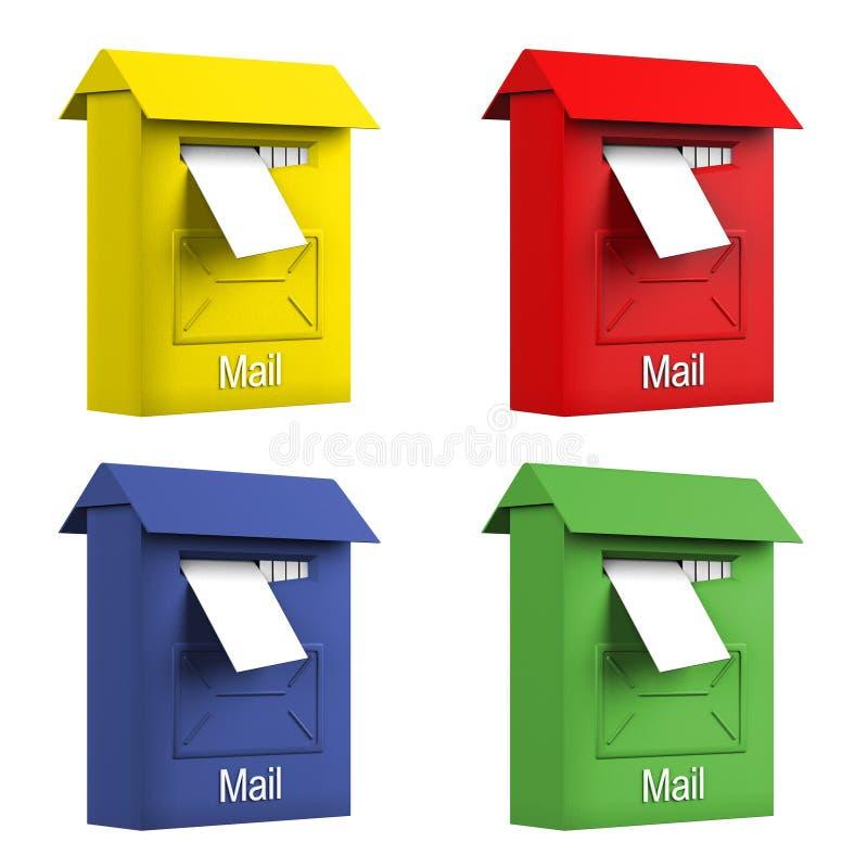 Caixas do correio da cor ilustração do vetor