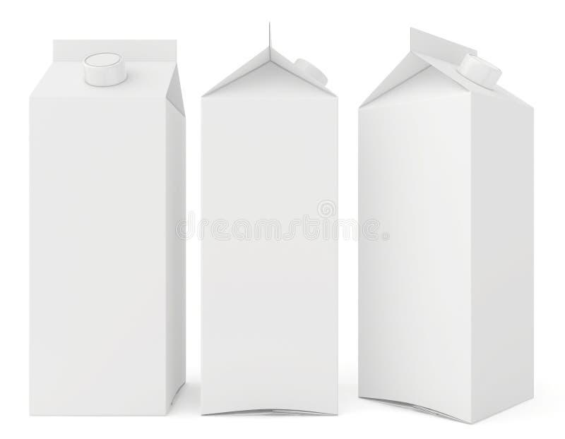 Caixas do leite isoladas no fundo branco 3d ilustração stock