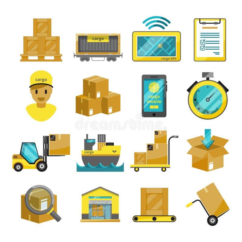 Caixas do recipiente, caminhões, navios e outros ícones da carga Graphhics do vetor ilustração do vetor