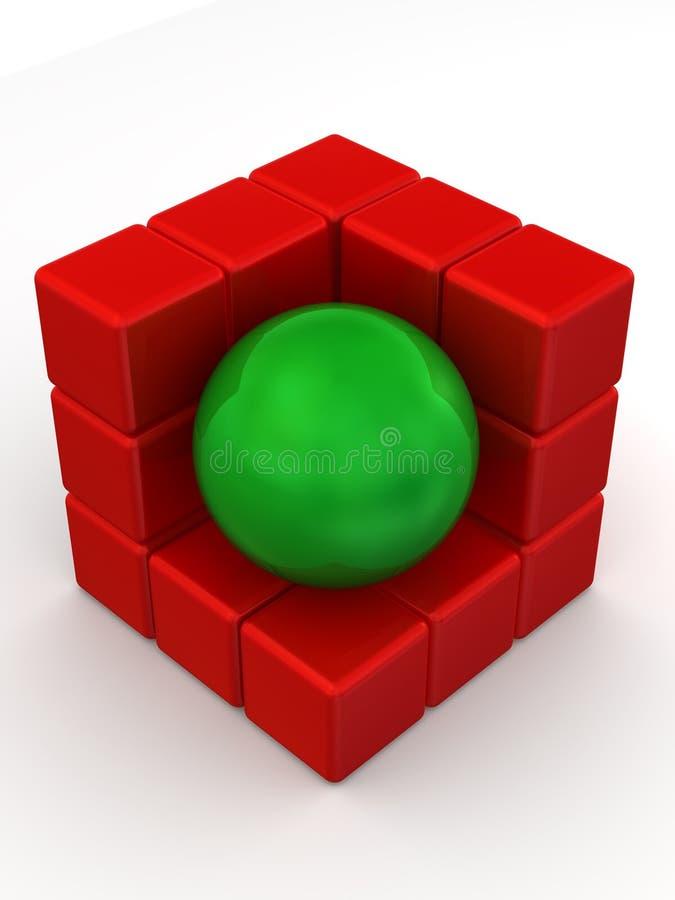 Caixas e esfera. Imagem abstrata ilustração do vetor