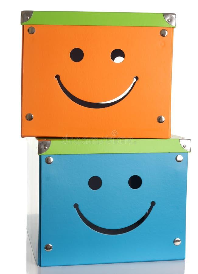 Caixas felizes da face fotos de stock royalty free