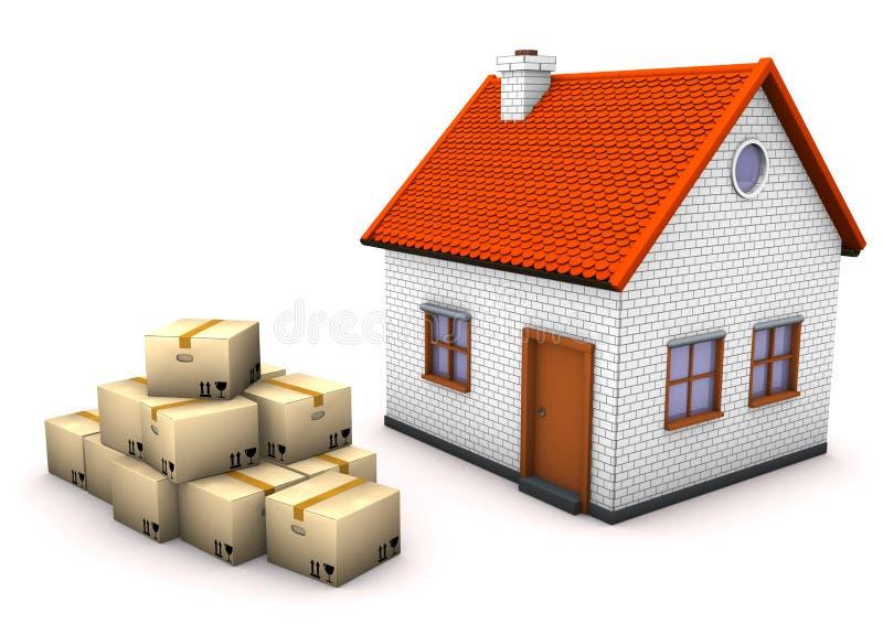 Caixas moventes da casa ilustração royalty free
