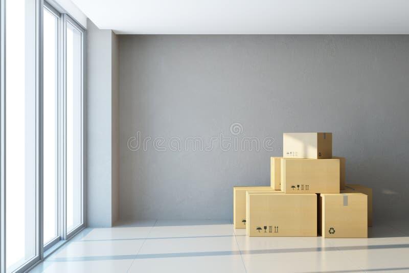 Caixas moventes em um escritório novo ilustração stock