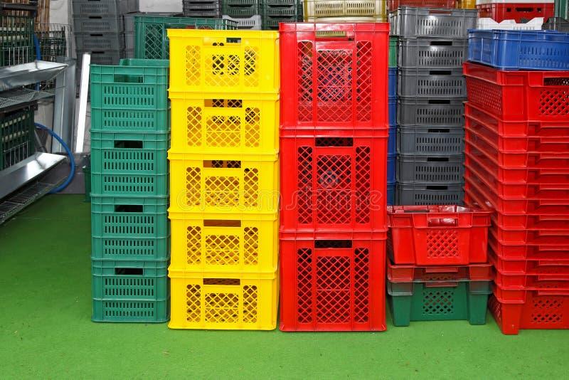 Caixas plásticas imagens de stock