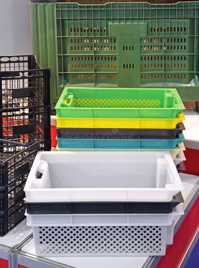 Caixas plásticas foto de stock