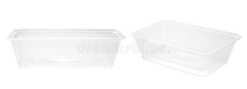Caixas plásticas vazias do alimento foto de stock