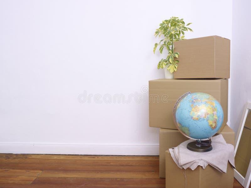 Caixas, planta e globo embalados imagem de stock