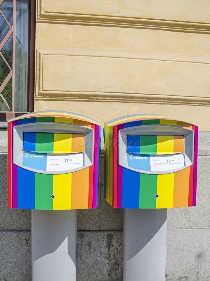 Caixas postais do orgulho em Éstocolmo, Suécia imagens de stock royalty free
