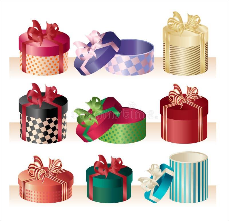 Caixas redondas do Natal - vetor ilustração do vetor