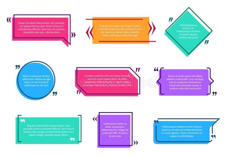 Caixas Texting A nota colorida do texto do molde da bolha do discurso da caixa das citações suporta desenhos animados vazios das  ilustração do vetor