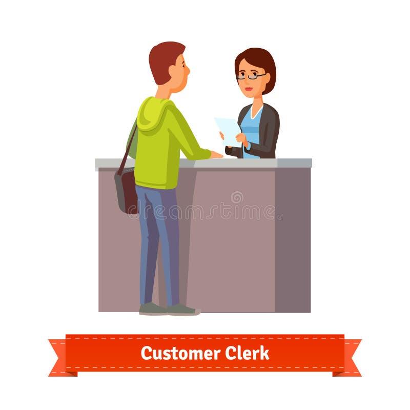 Caixeiro assistente que trabalha com cliente ilustração stock