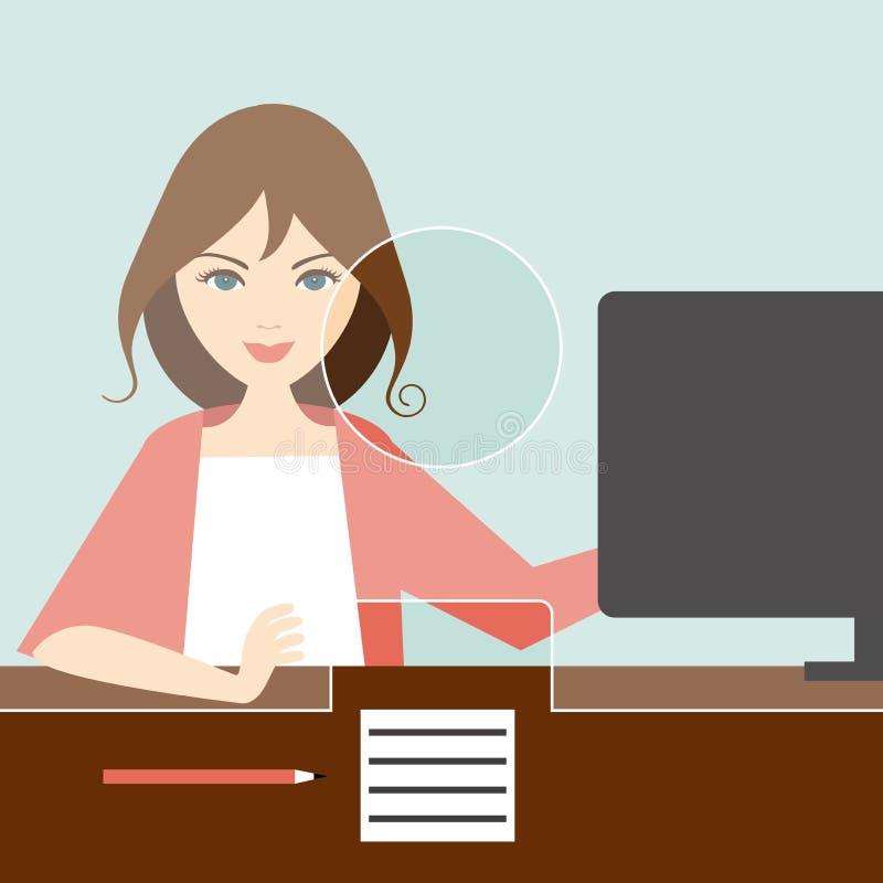Caixeiro da mulher em um banco ilustração stock