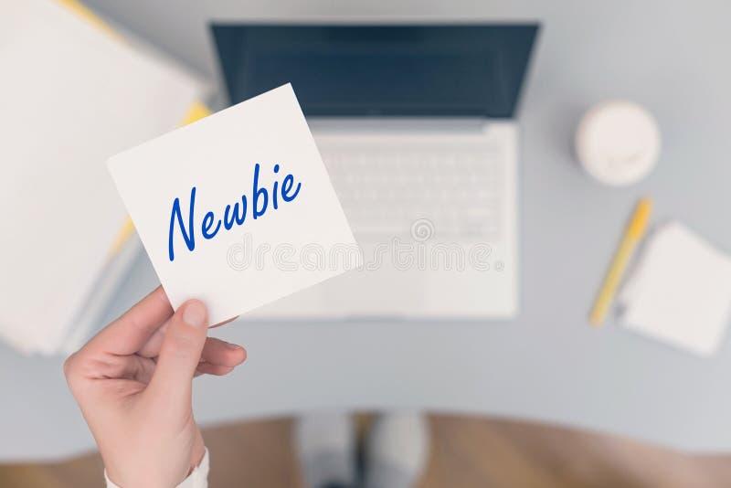 Caixeiro da mulher que senta-se guardando a etiqueta do papel de nota com palavra do newbie Conceito do neg?cio imagens de stock