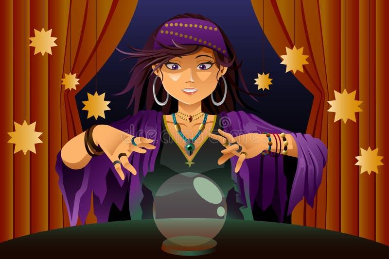 Caixeiro de fortuna que lê Crystal Ball ilustração royalty free