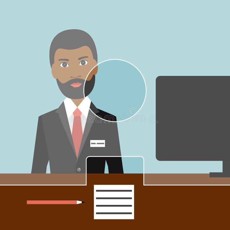 Caixeiro do homem do homem negro em um banco ilustração stock
