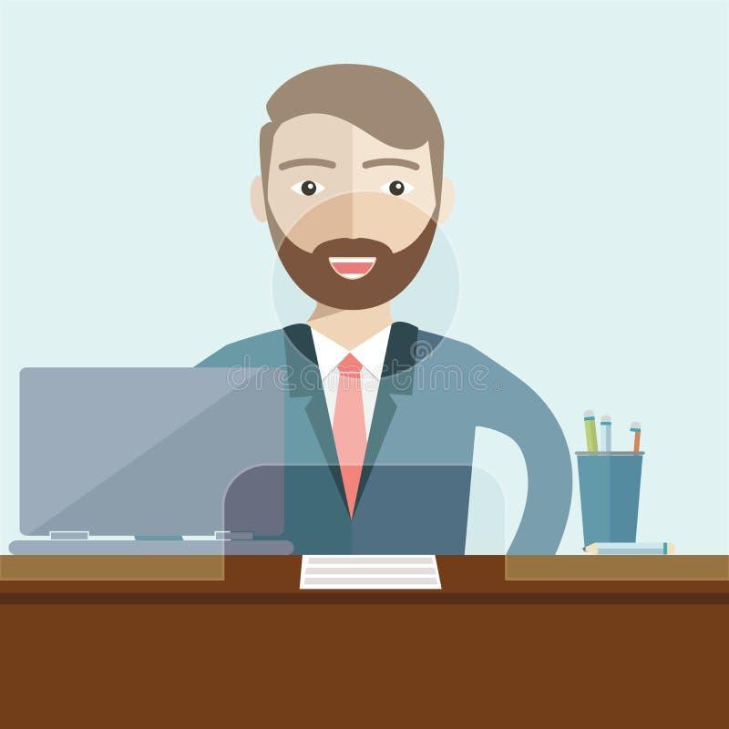 Caixeiro do homem em um escritório do banco Vetor liso ilustração stock